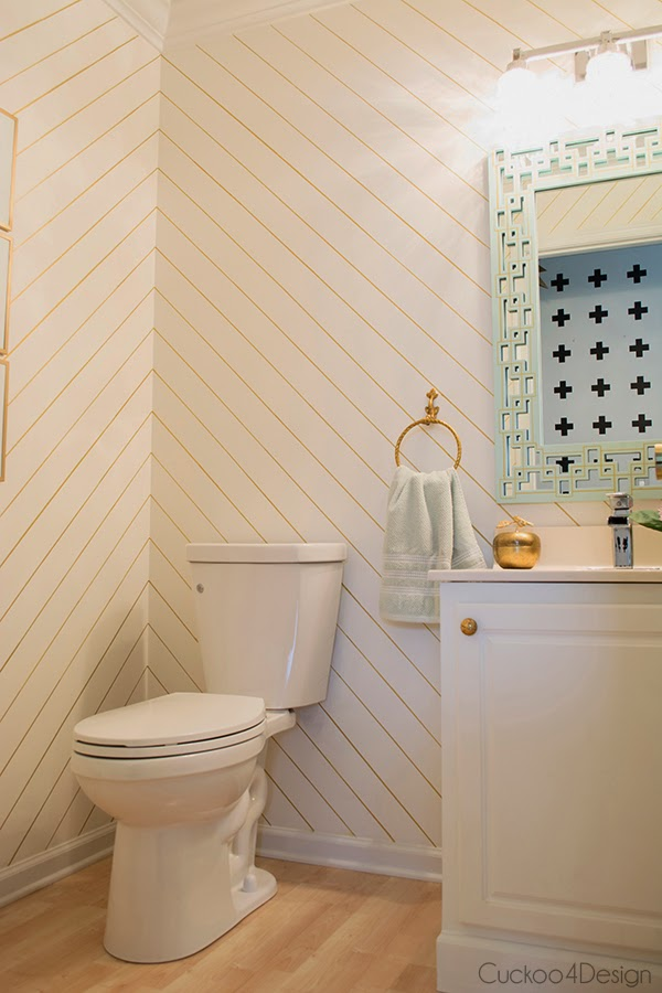 gold, white and mint powder room makeover