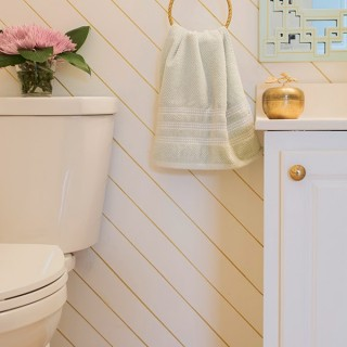gold and white powder room with Delta FlushIQ Toilet