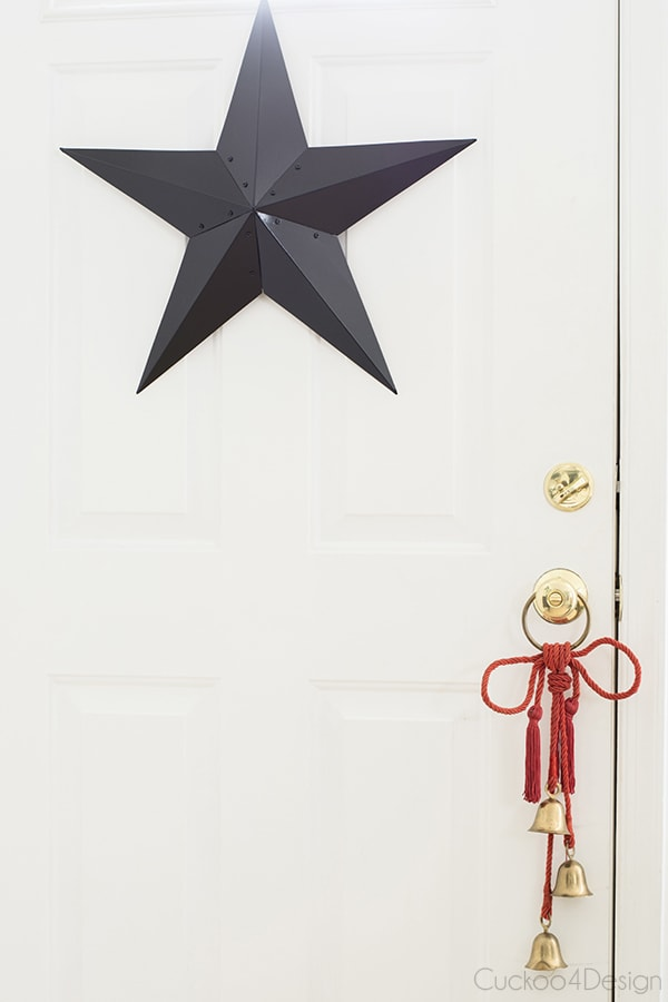black and red Christmas door
