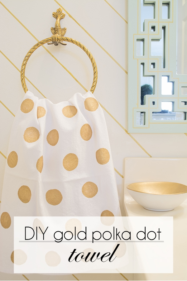 DIY gold polka dot towel