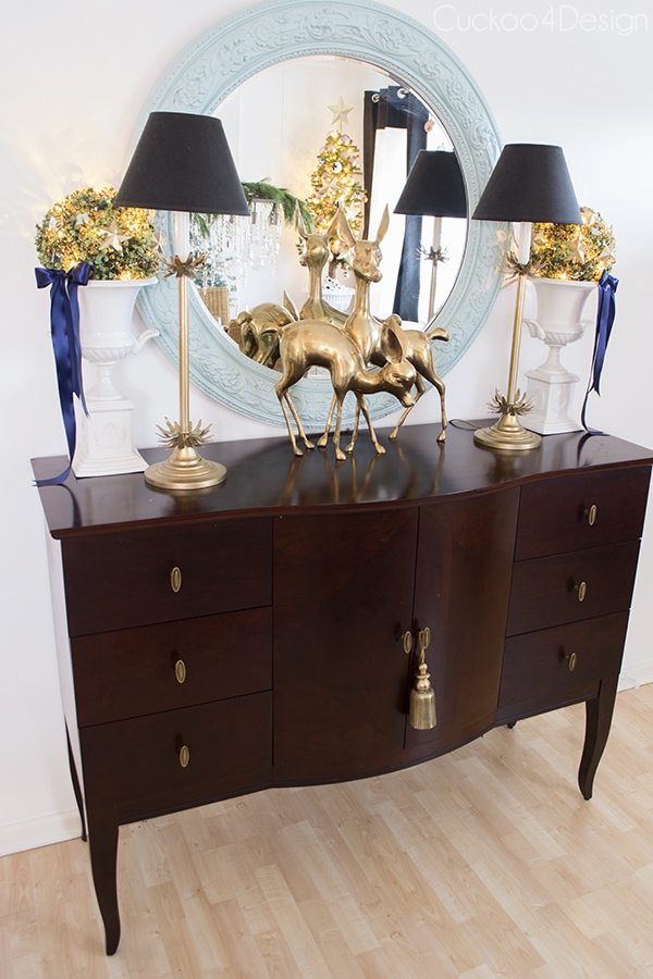 blue, black and gold Christmas sideboard - Cuckoo4Design