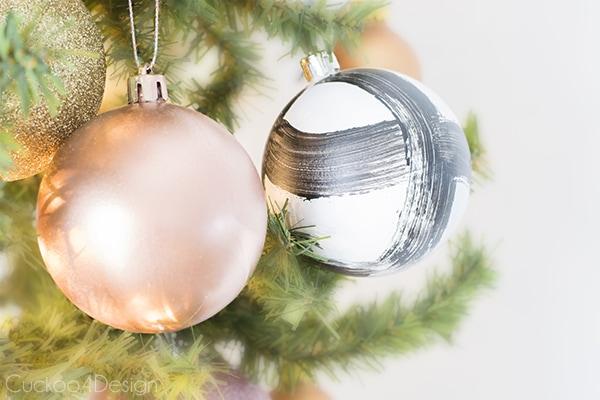 DIY brush stroke ornaments