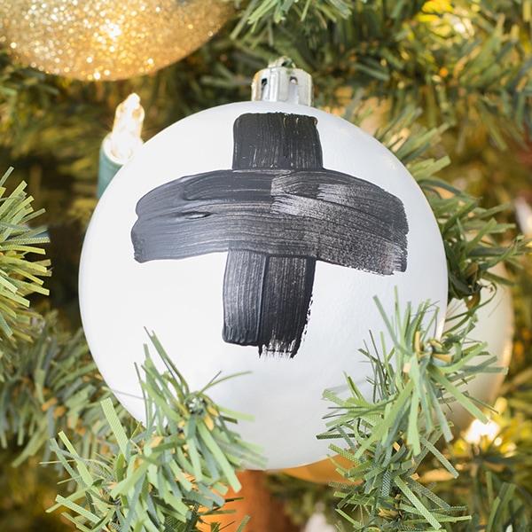 DIY brush stroke cross ornaments