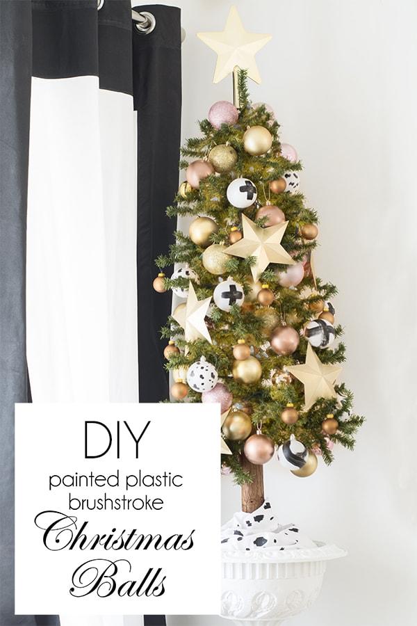 DIY painted plastic brushstroke Christmas balls