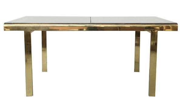 Cool Milo Baughman extendable brass dining table