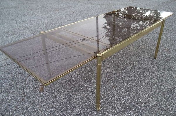 Perfect Milo Baughman extendable brass dining table