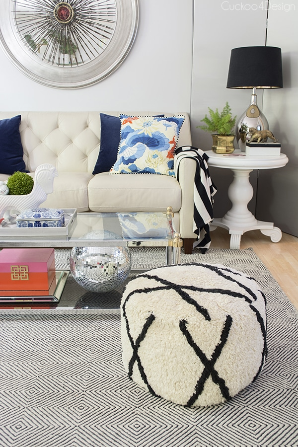 Blue and coral living room decor