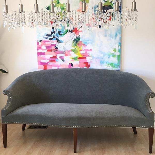 federa style velvet studded settee