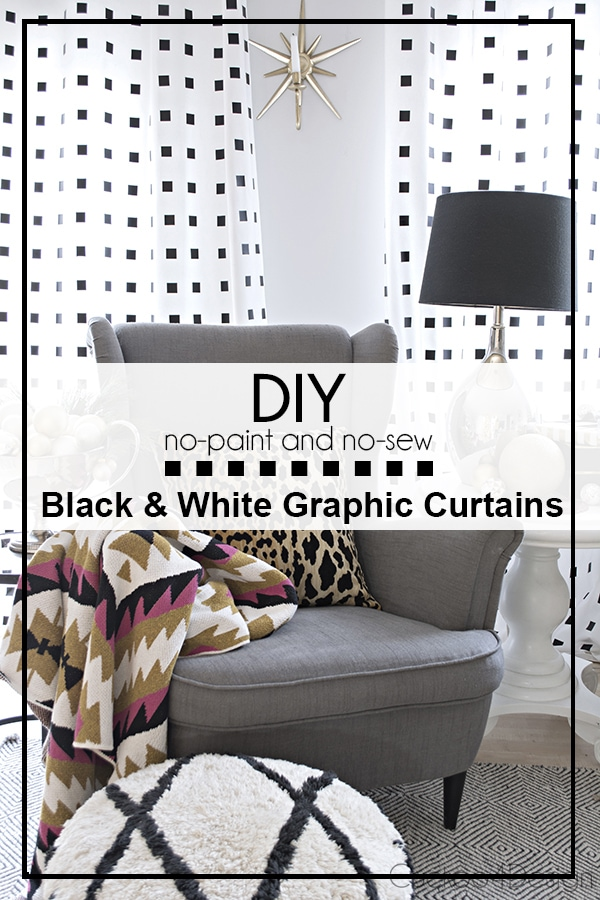 DIY no-paint, no-sew black and white Curtains - Cuckoo4Design