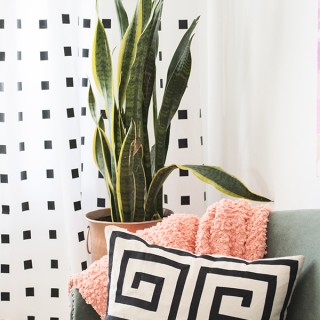 How to make no-sew, no-paint DIY graphic black and white curtains - Cuckoo4Design