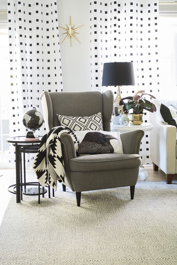 living room with black and white curtains - Cuckoo4Design