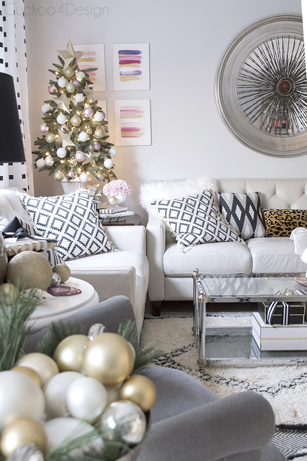 elegant blush, white, gold, black and white Christmas decor