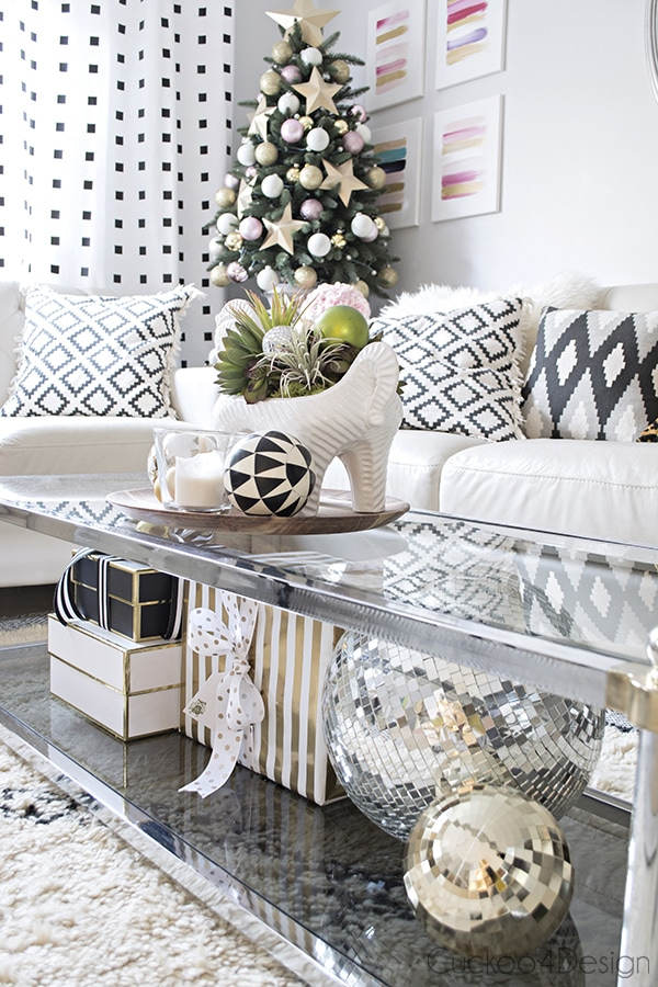elegant blush, white, gold, black and white Christmas decor