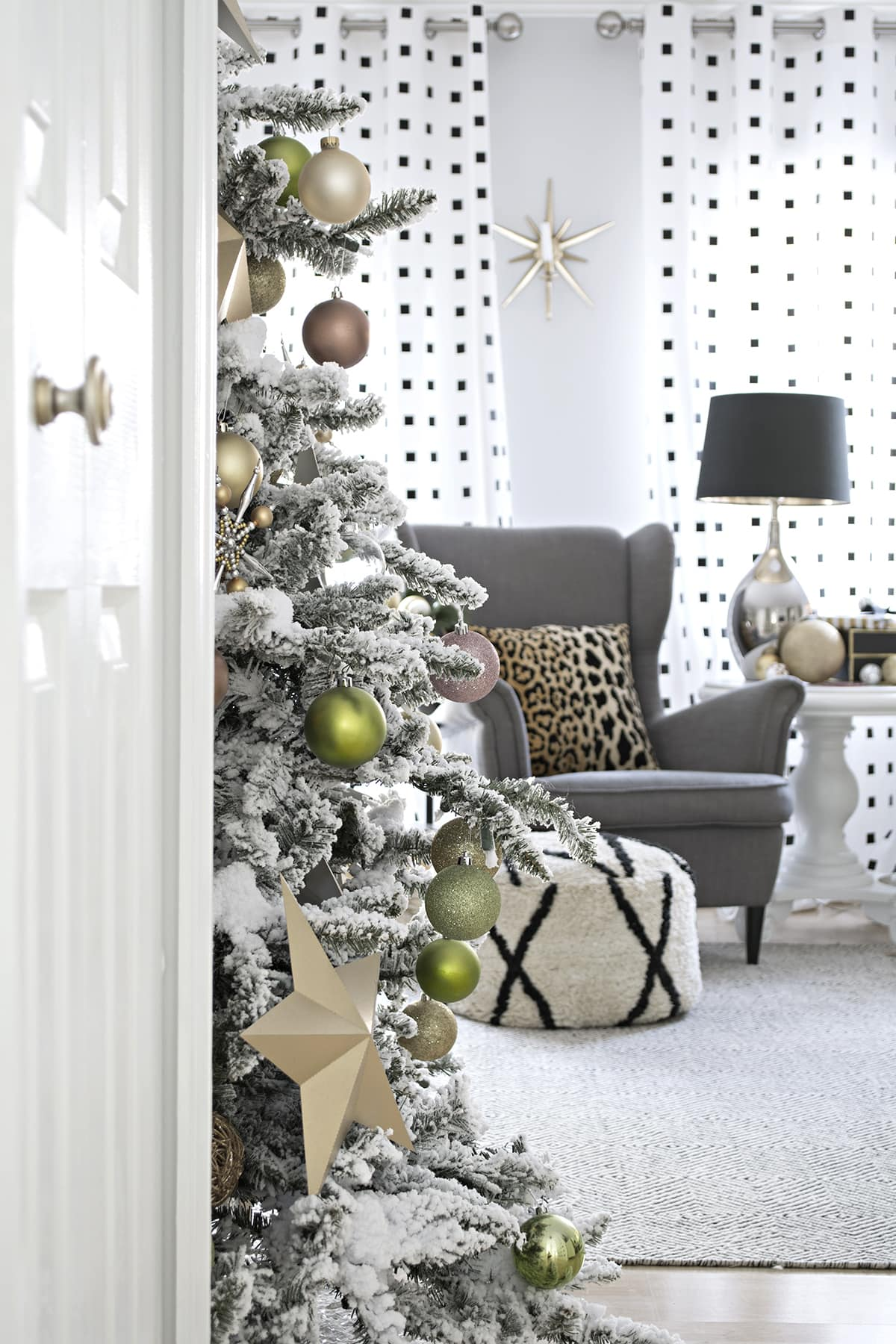 blush and lime green Christmas decor on flocked tree