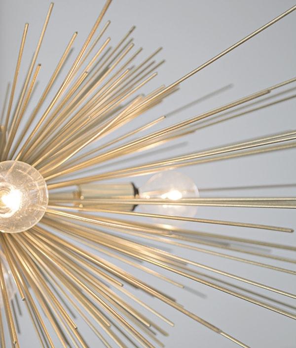 Gold custom urchin chandelier