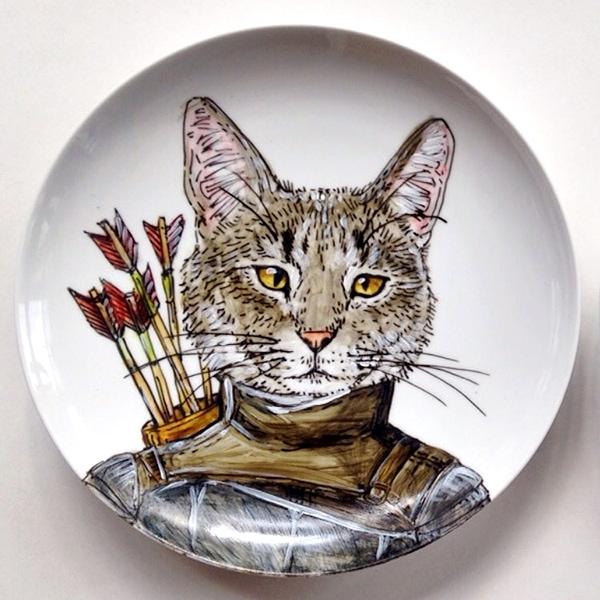 custom cat plate artwork