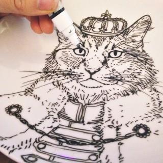 custom cat artwork on a plate