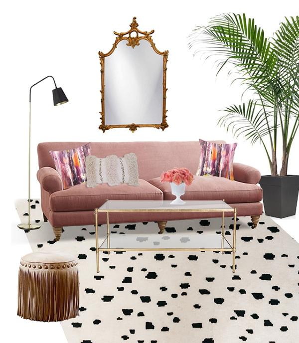 Rose Quartz or Blush Living Room Moodboard