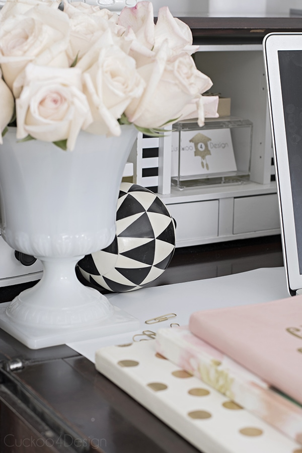 black and white Queen Anne secretary desk with roses and gold accents - Cuckoo4Design