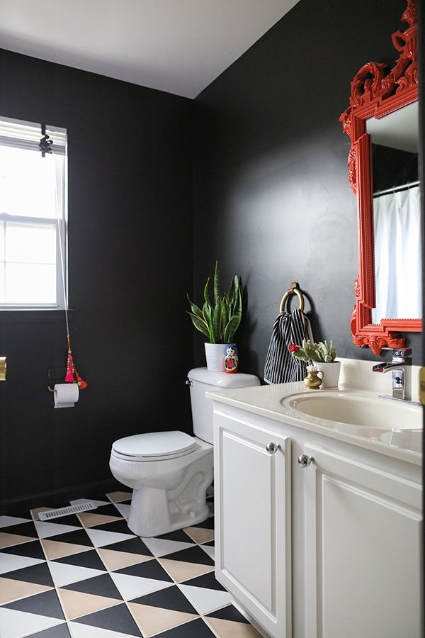 Black Bathroom With Graphic Patterned Tile   Cuckoo4dDesign