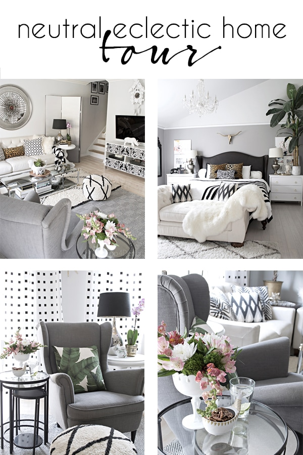 neutral eclectic home tour with black and white accents and a mix of patterns and texture