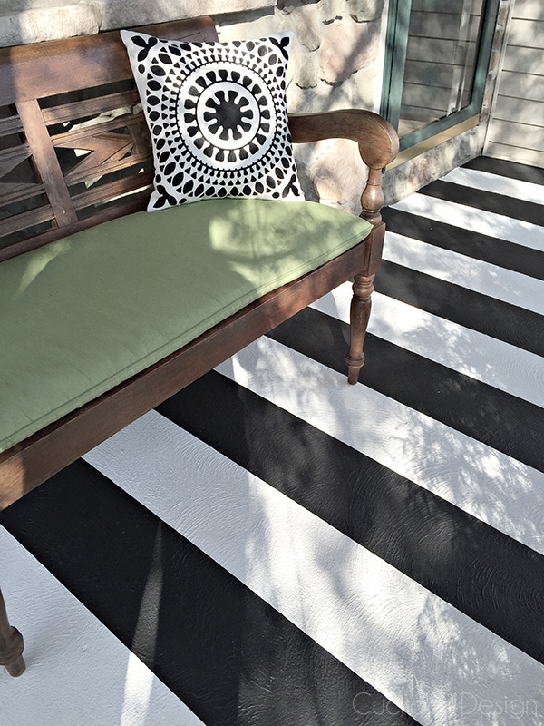 Black and white striped painted concrete porch - Cuckoo4Design