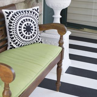 Painting Crisp Black And White Stripes on Textured Front Porch