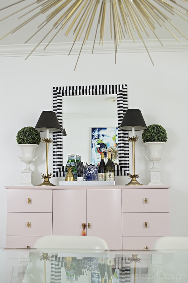 black and white striped striped washitape mirror makeover
