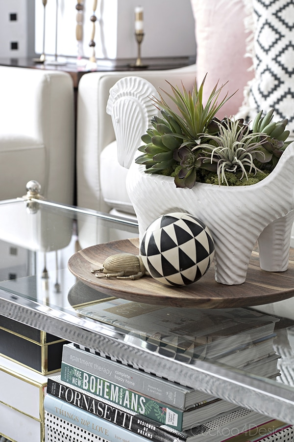 coffee table styling with faux succulents