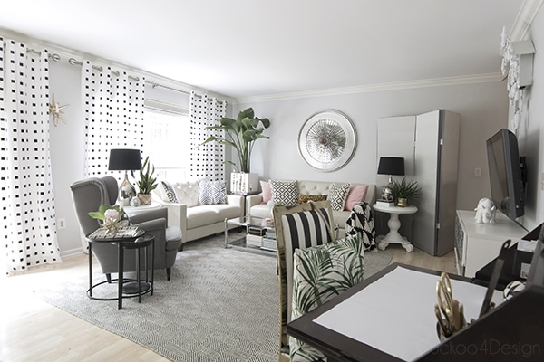 black and white living room with grey walls