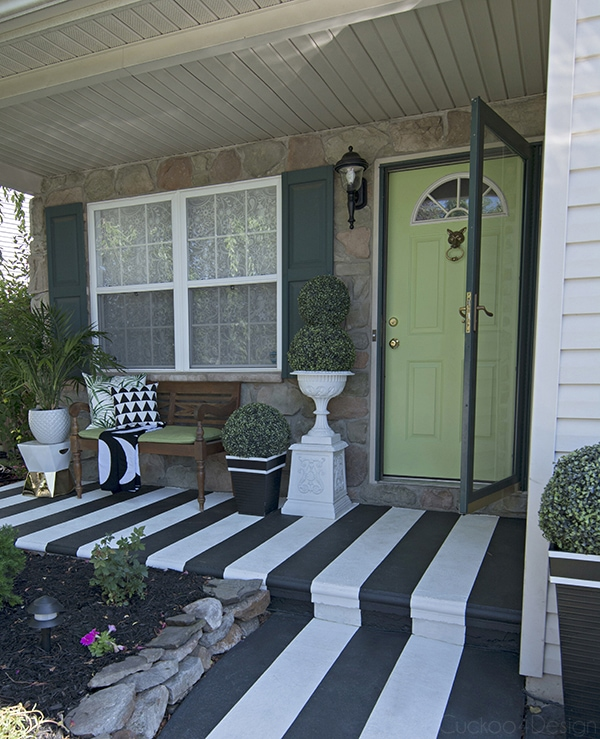 graphic black and white striped porch