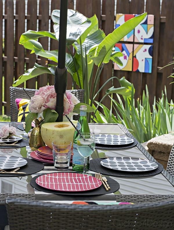 Marimekko plates on colorful patio table setting