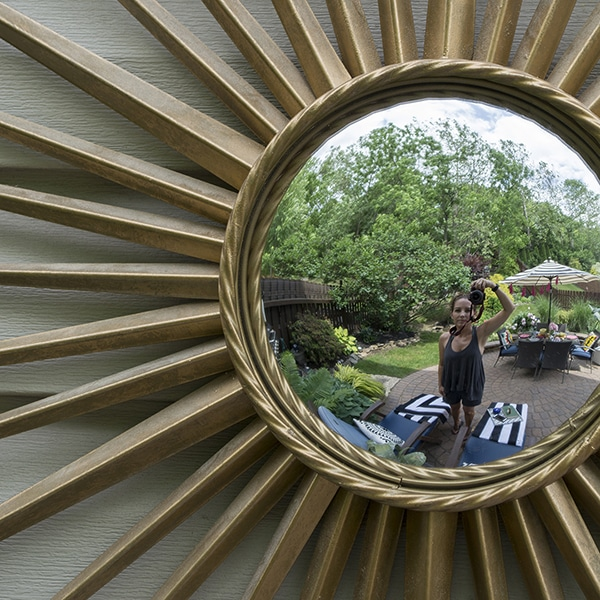 garden reflection in starburst mirror