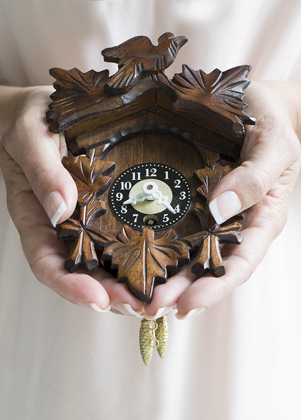 tiny wooden cuckoo clock