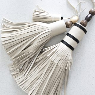 giant leather tassel from old couch
