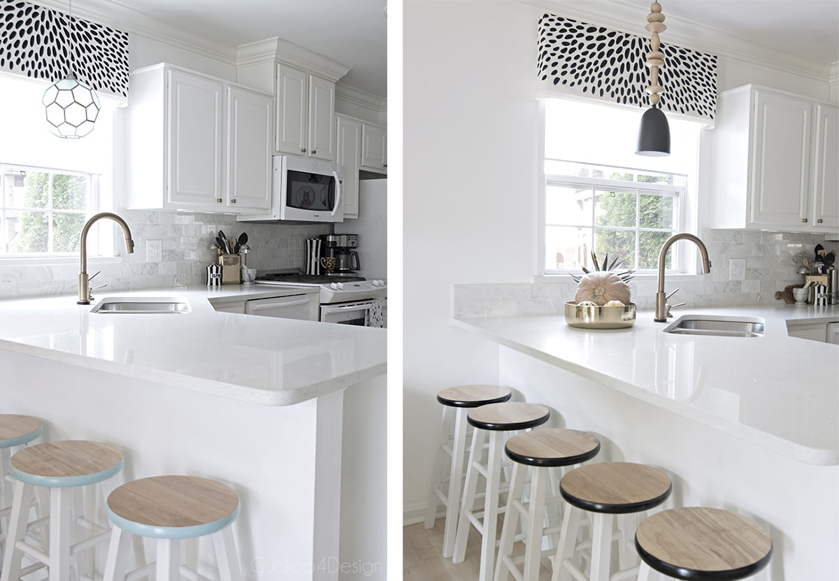 turquoise versus black kitchen accents