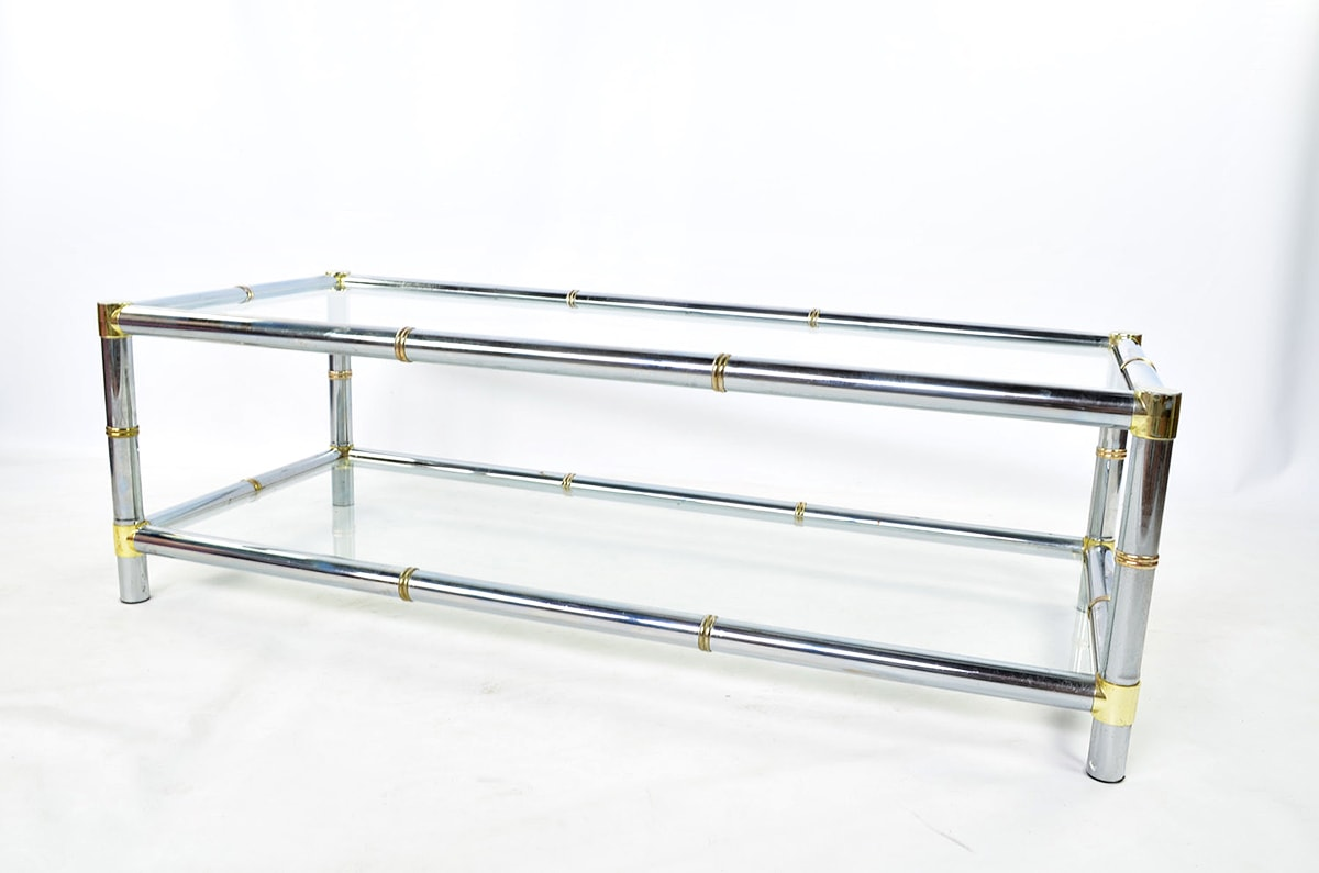 vintage brass and chrome coffee table