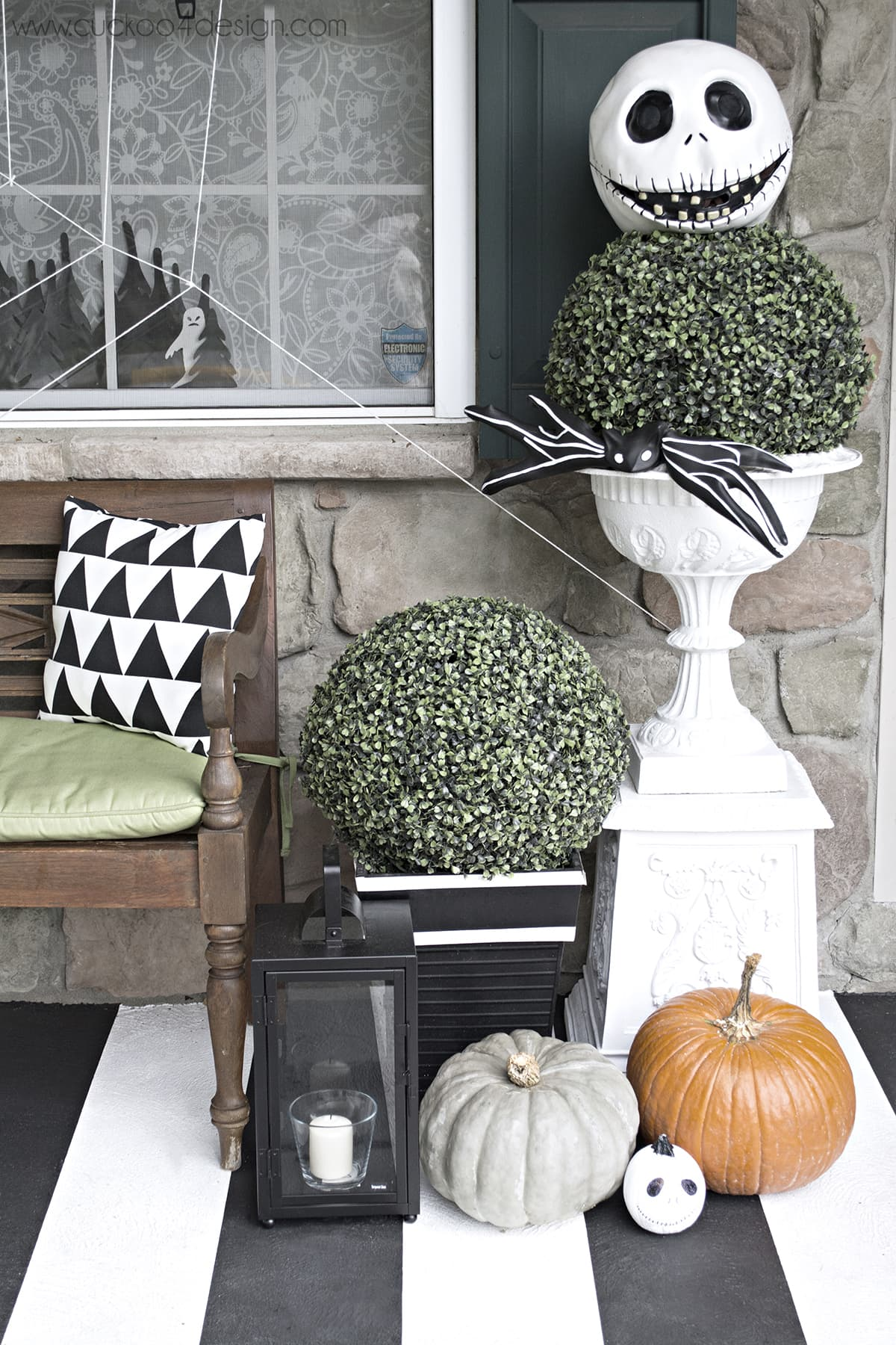 black and white Halloween porch