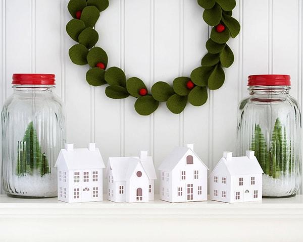 DIY white paper Christmas village kit