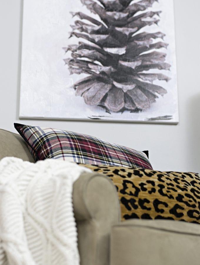 DIY pinecone mix media canvas artwork