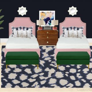 twin girl bedroom with dark blue wall