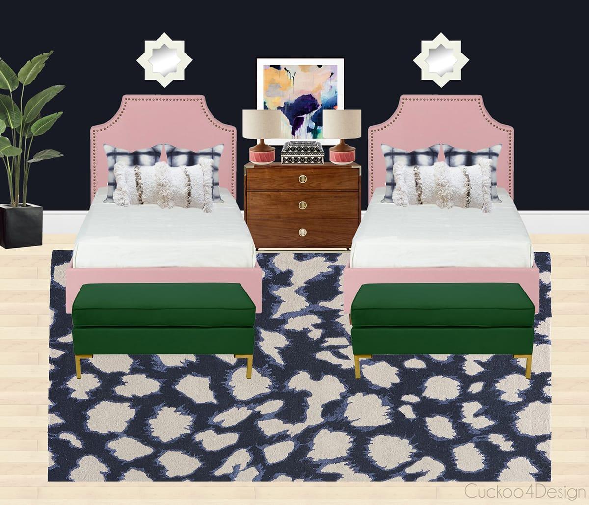 twin girl bedroom with dark blue wall