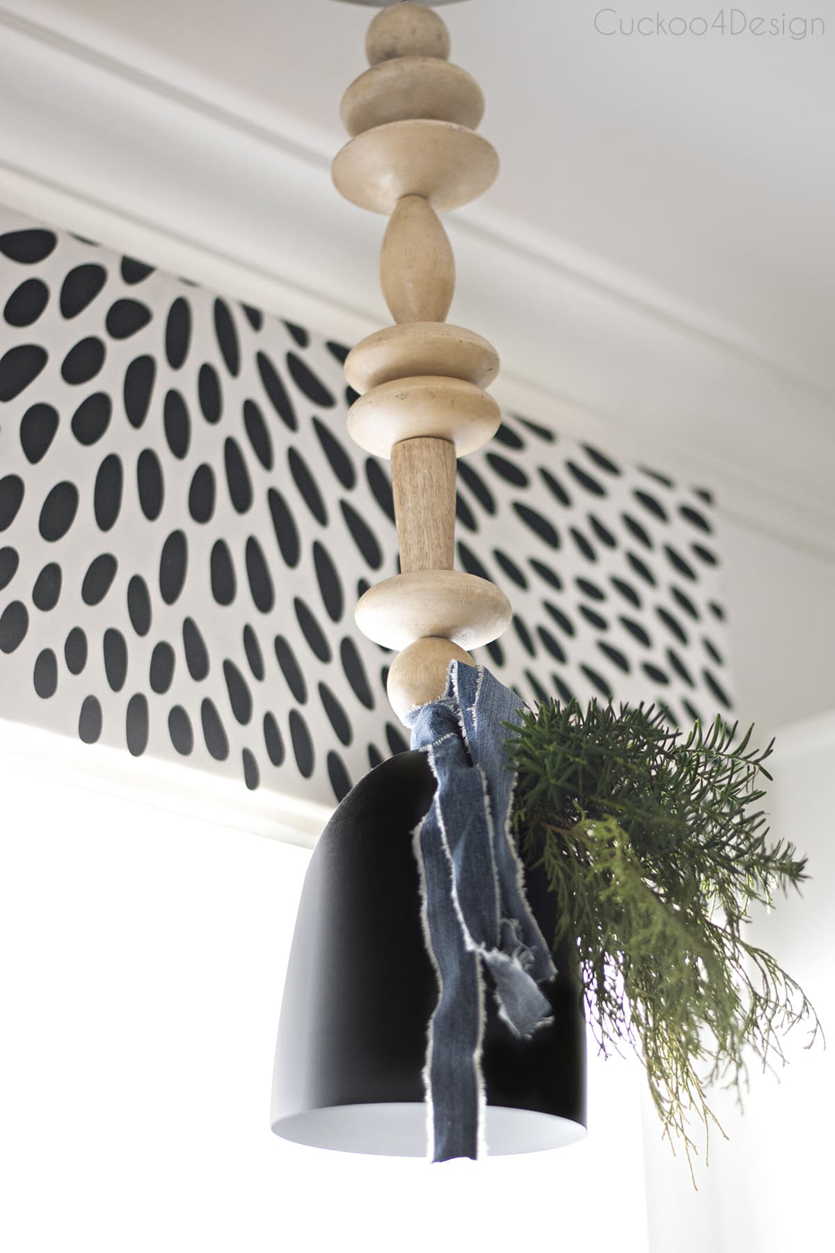 woodbead chandelier with Christmas decor