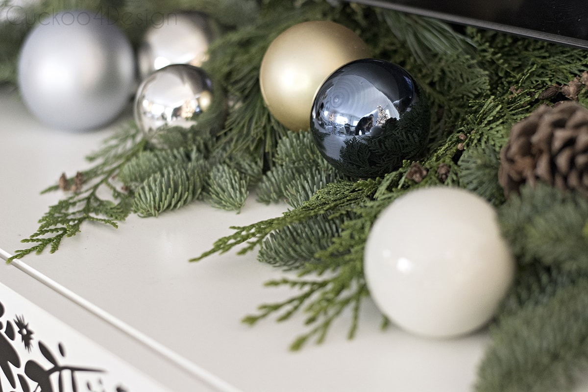 Blue, black and white eclectic Christmas living room