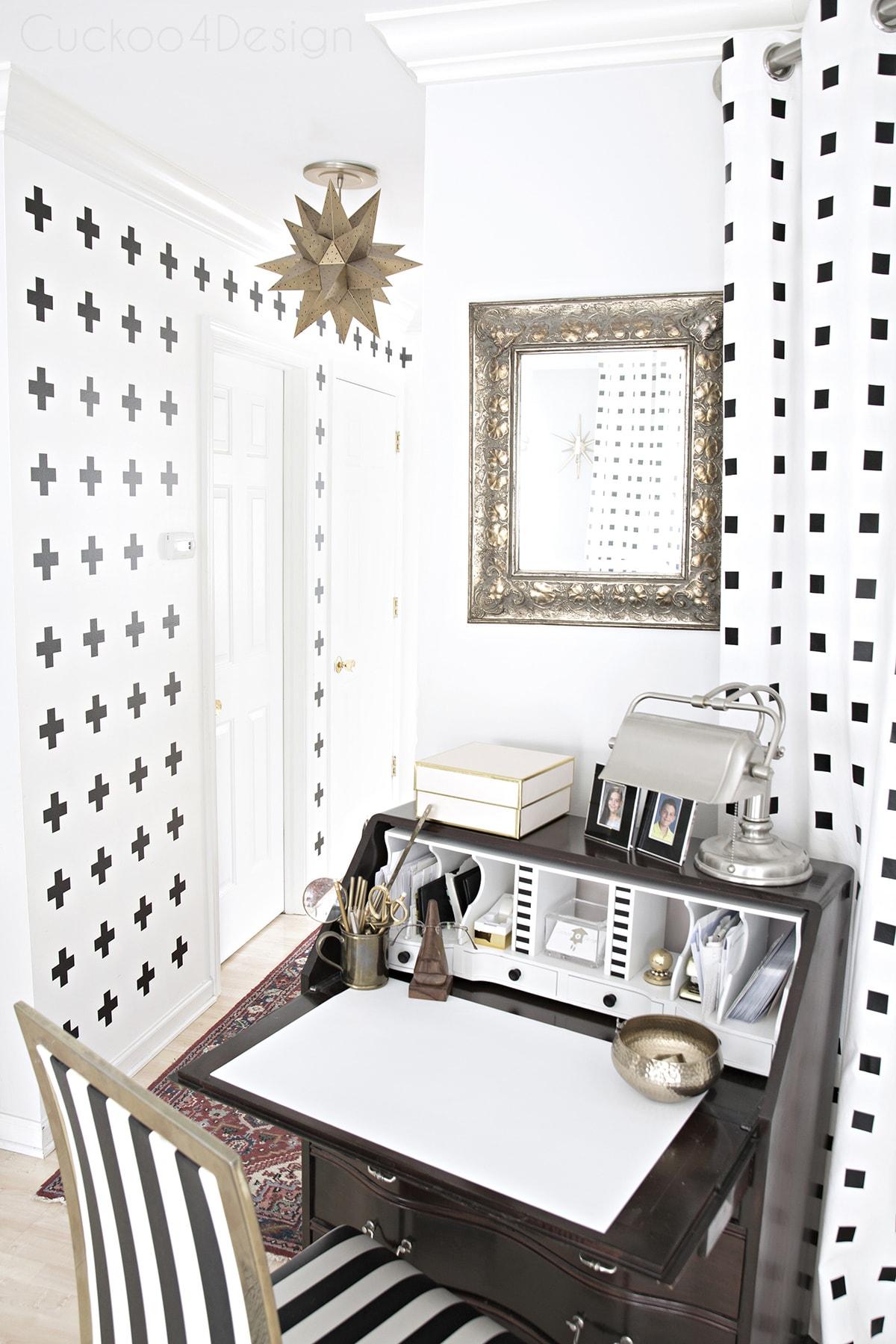 Queen Anne secretary desk with modern decor