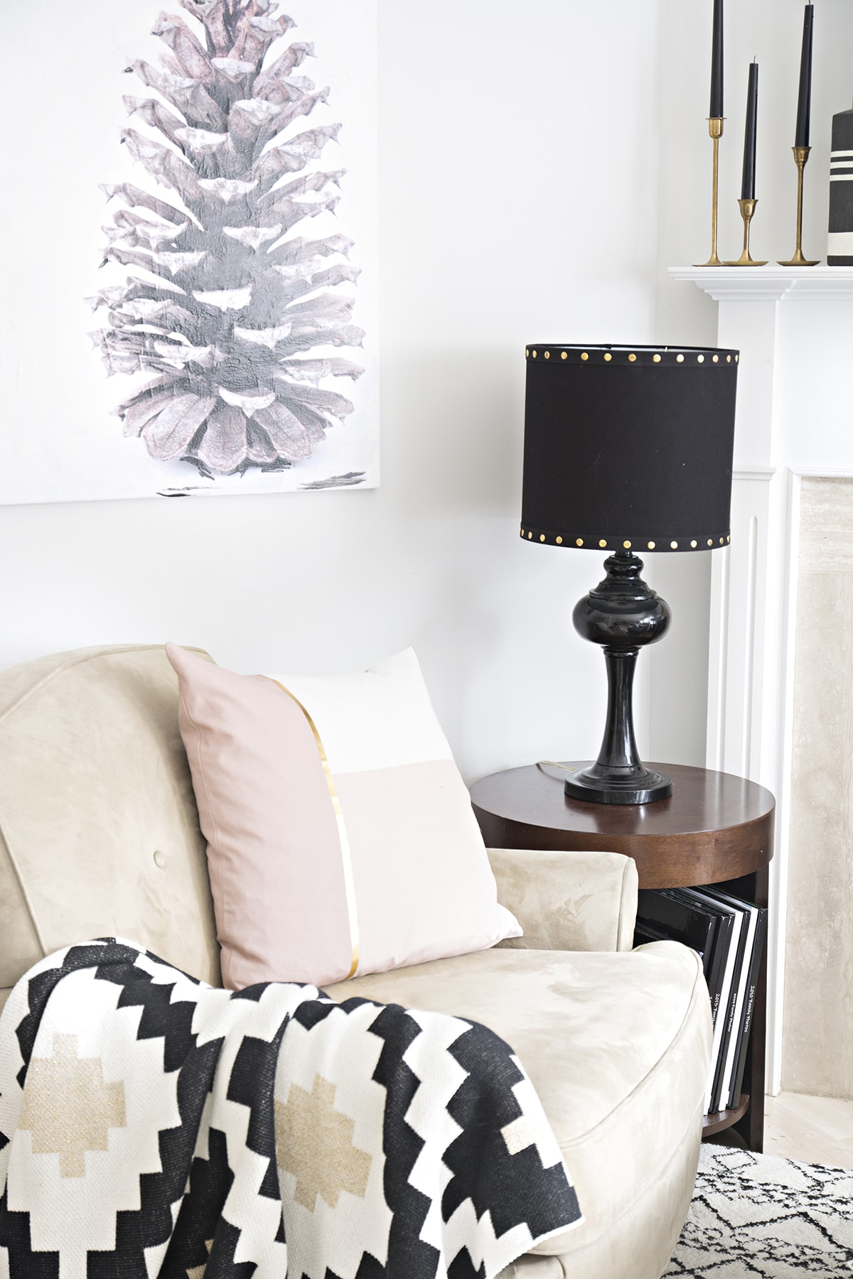 black lamp shade with gold studds