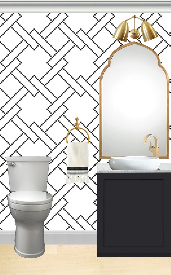 black, white and gold powder room with black vanity and marble top vessel sink
