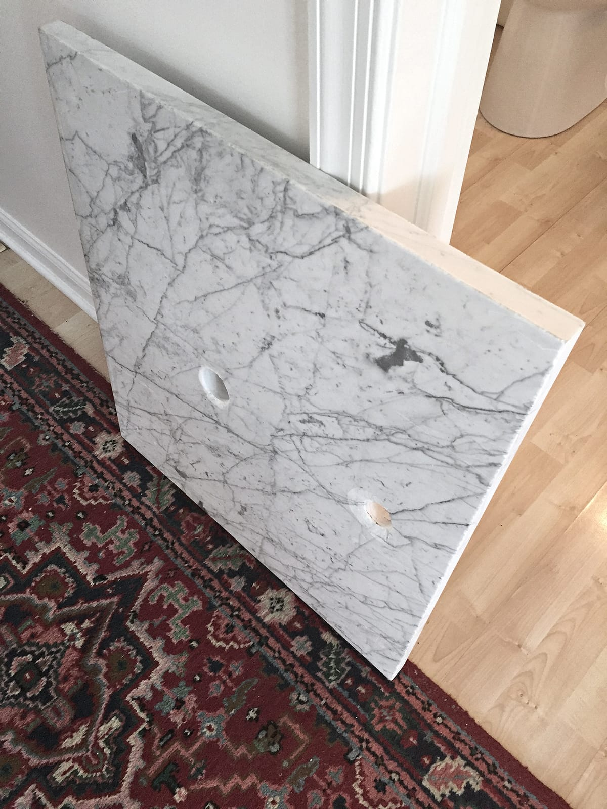 custom cut marble countertop for vessel sink