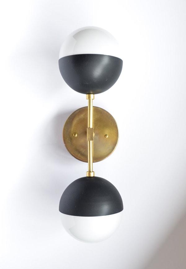 matt black and brass vanity light