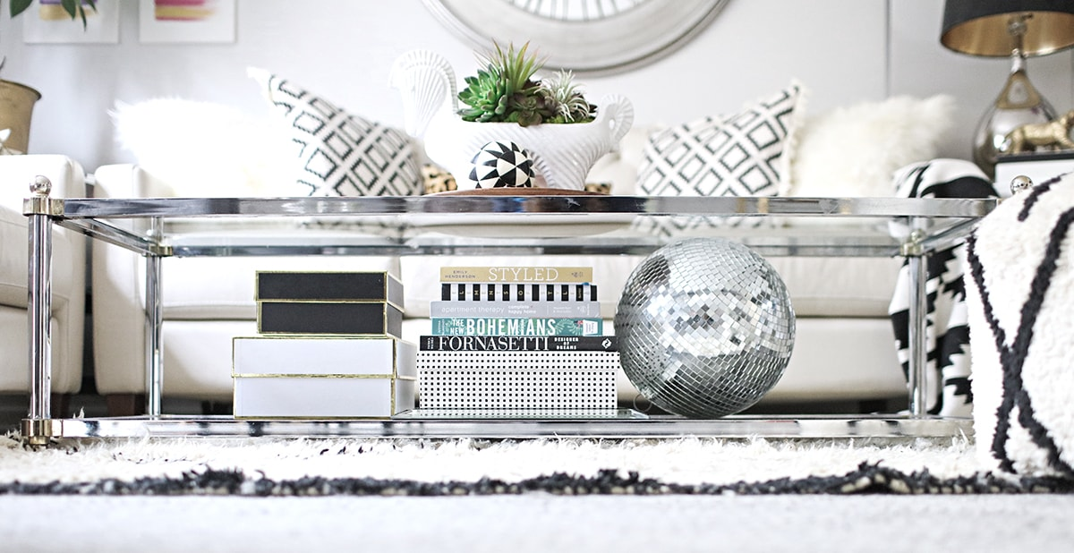 Maison Jansen chrome and brass coffee table